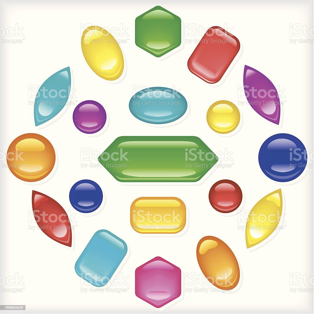 Rubies and Gems vector art illustration