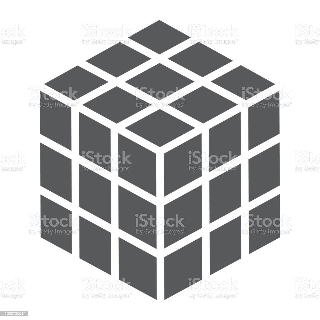 Olap正方形パズルルービック キューブのグリフ アイコン署名ベクトル