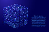 Rubiks cube dismantled from futuristic polygonal blue lines and glowing stars for banner, poster, greeting card. Vector illustration.