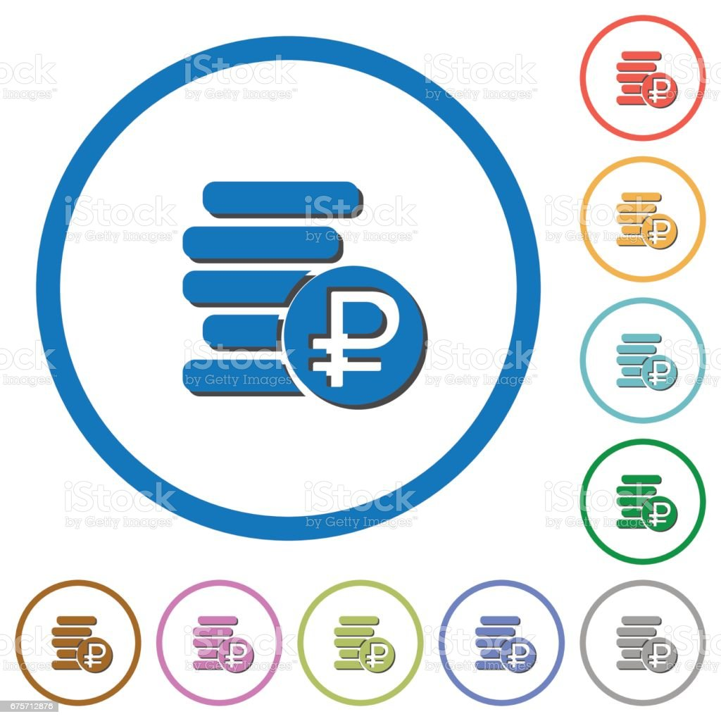 Ruble coins icons with shadows and outlines 免版稅 ruble coins icons with shadows and outlines 向量插圖及更多 付錢 圖片