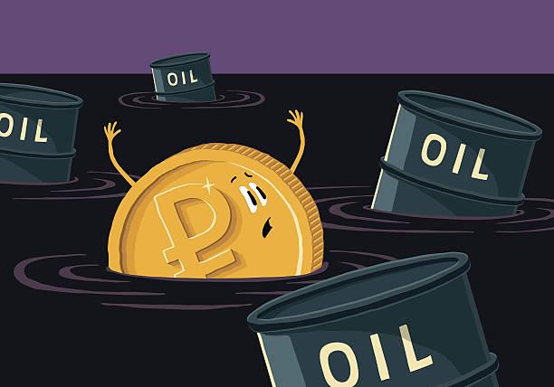 ruble sinks in petroleum. - fallrohr stock-grafiken, -clipart, -cartoons und -symbole