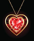 luxury jewelry pendant in the form of a red ruby heart on a gold chain