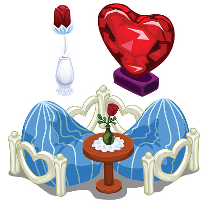 Ruby hearts, furniture, table and precious roses