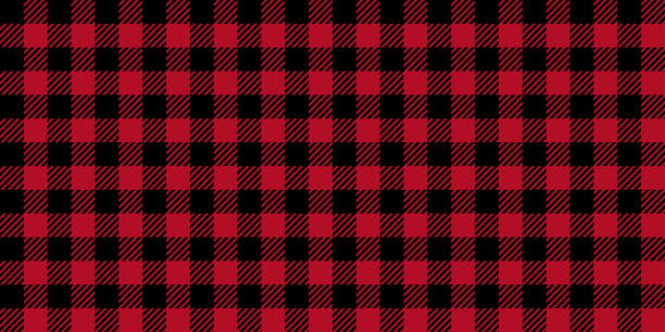 ruby lumberjack buffalo plaid seamless pattern - flannel backgrounds stock illustrations, clip art, cartoons, & icons