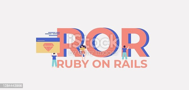 ROR ruby on rails. Platform for programming and coding technologies web software digital graphic scripts and business monitoring interfaces poster of mobile vector applications.