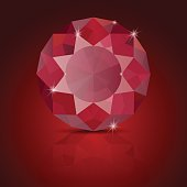 Ruby vector. On red background with reflection