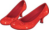 Vector illustration of ruby red slippers/shoes. Bows are removable and shoe can be separated with vector editing software. Includes ai8.eps & .jpeg formats.