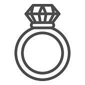 Ruby ring line icon. Ring with gem vector illustration isolated on white. Jewelry outline style design, designed for web and app. Eps 10