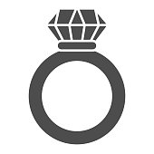 Ruby ring solid icon. Ring with gem vector illustration isolated on white. Jewelry glyph style design, designed for web and app. Eps 10
