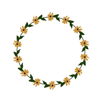 Rudbeckia decorative vector floral frame