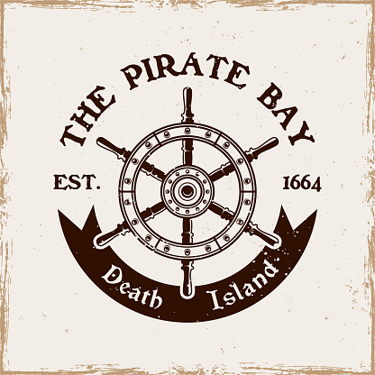 Rudder wheel vector pirate emblem in vintage style isolated on background with removable grunge textures