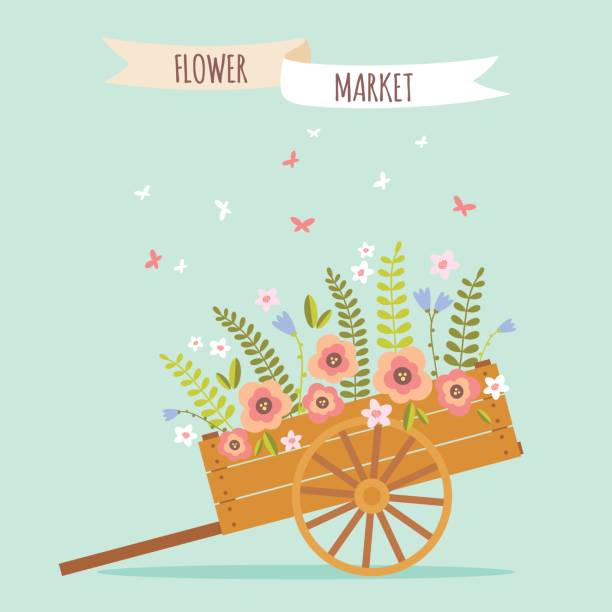 stockillustraties, clipart, cartoons en iconen met rudtic flower wheelbarrow vector illustration - kruiwagen