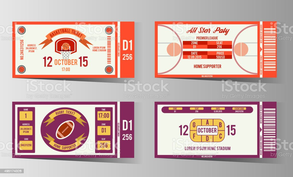 Rugby and Basketball ticket vector design template vector art illustration