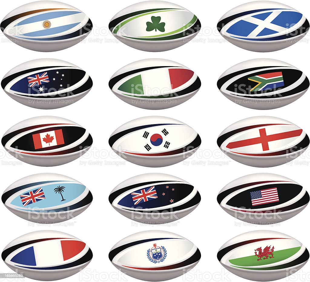 Rugby Ball Collection royalty-free stock vector art