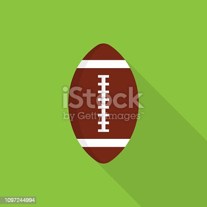 Rugby ball icon with long shadow on green background, flat design style