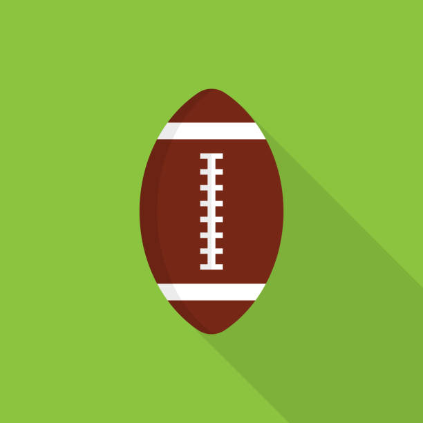 rugby ball icon with long shadow on green background, flat design style - football stock illustrations