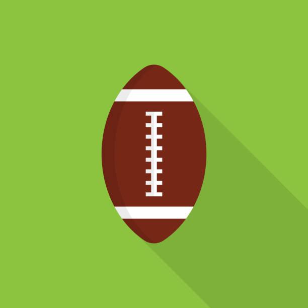 bildbanksillustrationer, clip art samt tecknat material och ikoner med rugby boll ikonen med långa skugga på grön bakgrund, platt designstil - fotboll