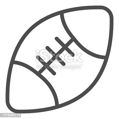 istock Rugby ball line icon. Sport equipment for rugby illustration isolated on white. American football ball outline style design, designed for web and app. Eps 10. 1219350173