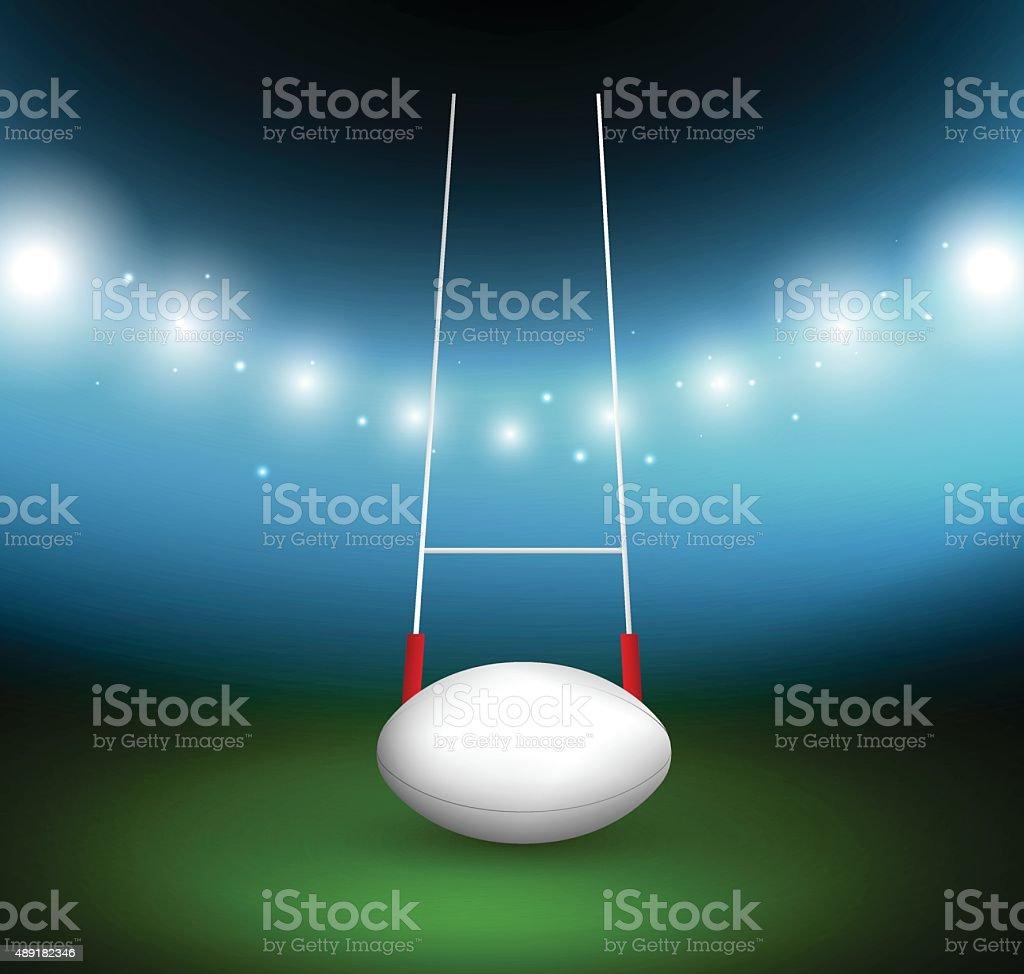 Rugby-ball auf einem Feld – Vektorgrafik