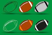 Rugby ball vector illustration - set, American football ball,