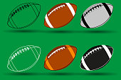 Rugby ball vector illustration - set, American football ball,