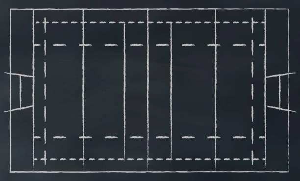 rugby field auf chalkbord - rugby stock-grafiken, -clipart, -cartoons und -symbole
