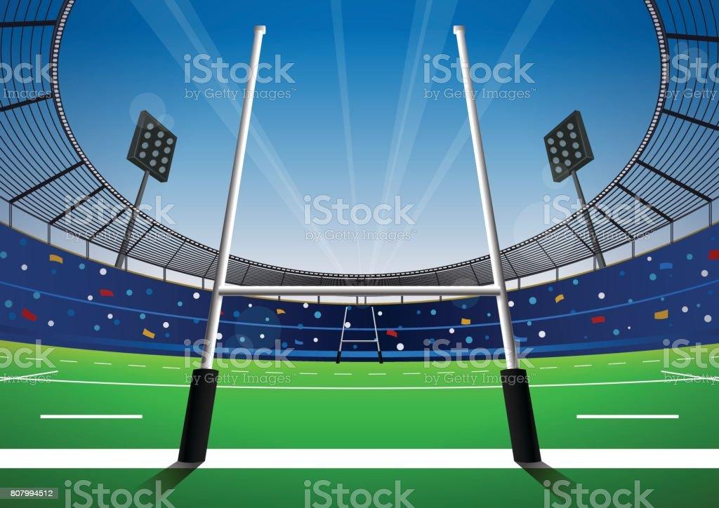 明るいスタジアムでラグビー場。 ベクターアートイラスト