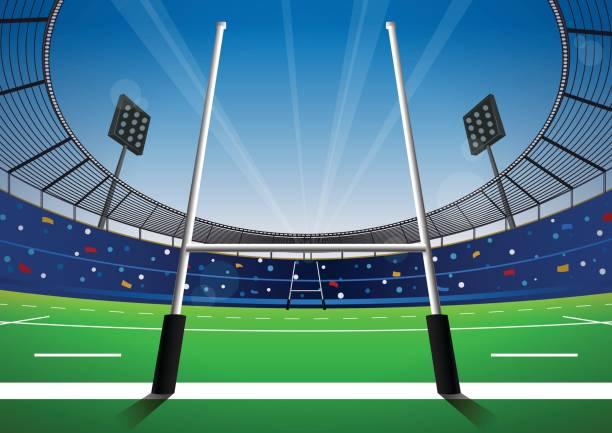 illustrations, cliparts, dessins animés et icônes de terrain de rugby avec stade lumineux. - rugby