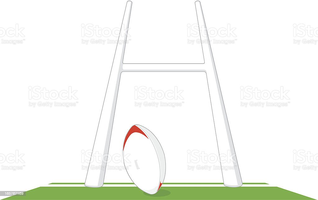 Rugby Goal Post and pitch vector art illustration