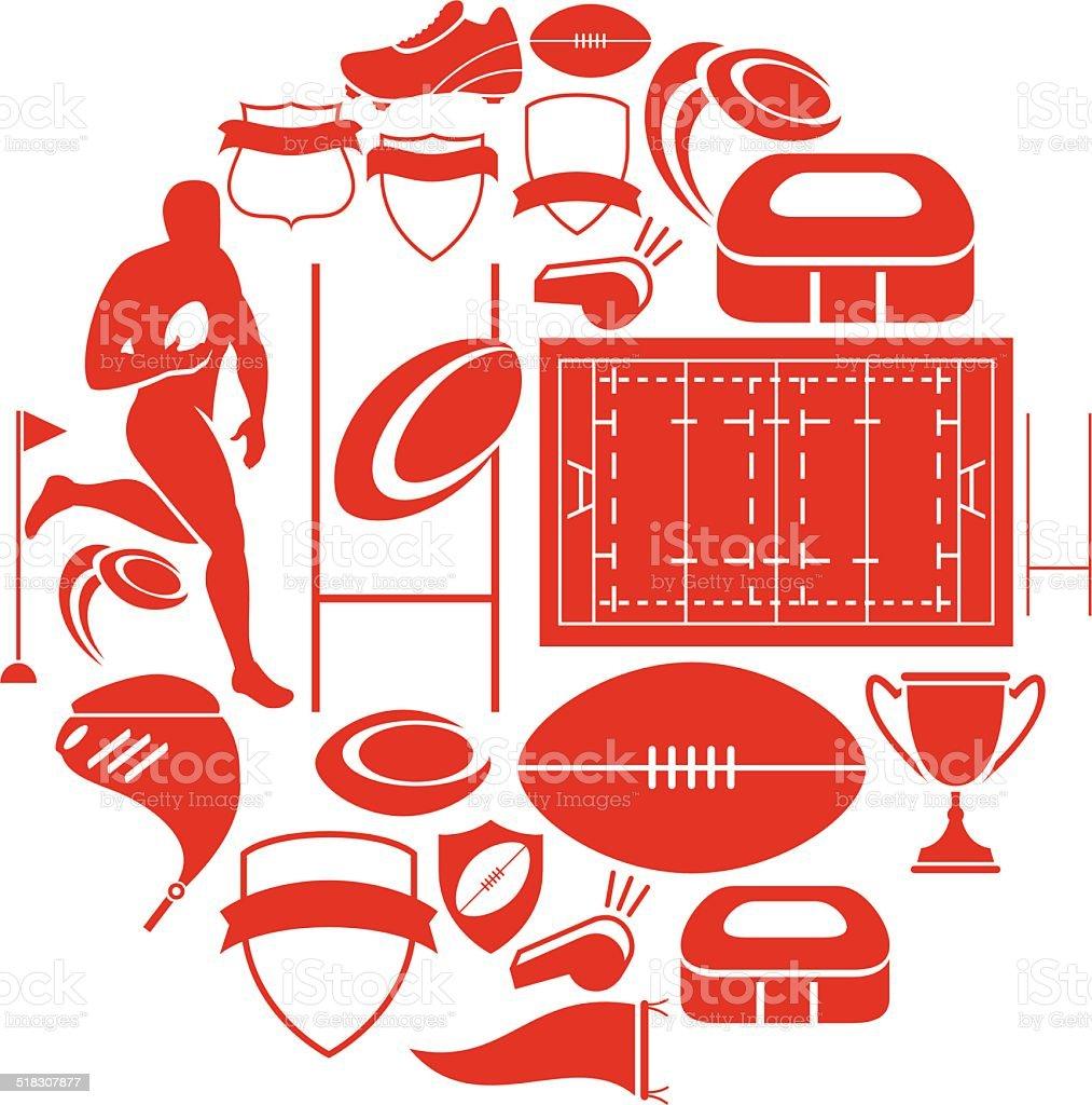 Conjunto de iconos de Rugby - ilustración de arte vectorial