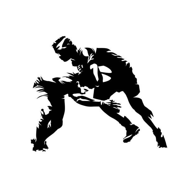 illustrations, cliparts, dessins animés et icônes de illustration de vecteur isolé de rugby. deux joueurs de rugby courent l'un vers l'autre - rugby