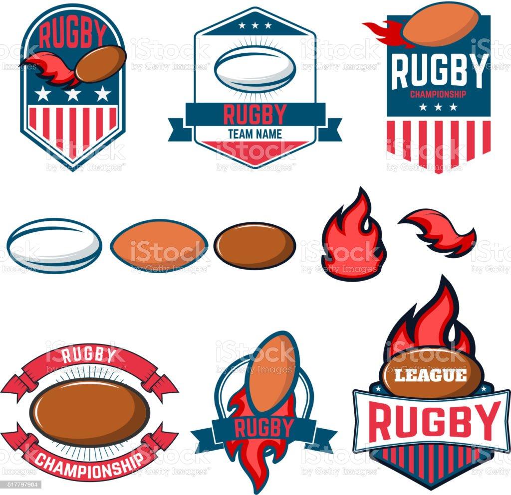 ラグビーリーグます。ラグビーラベル、エンブレムが自慢、デザイン要素です。ラグビー c ベクターアートイラスト