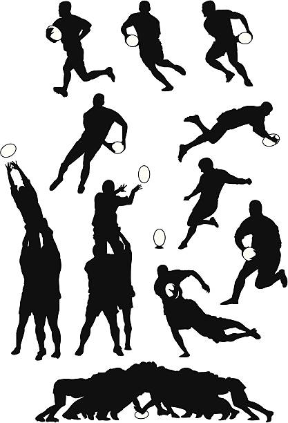 Rugby move Some of the most usual rugby movement in silhouettes rugby stock illustrations