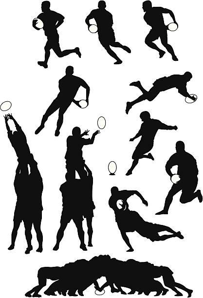 Movimento de Rugby - ilustração de arte em vetor
