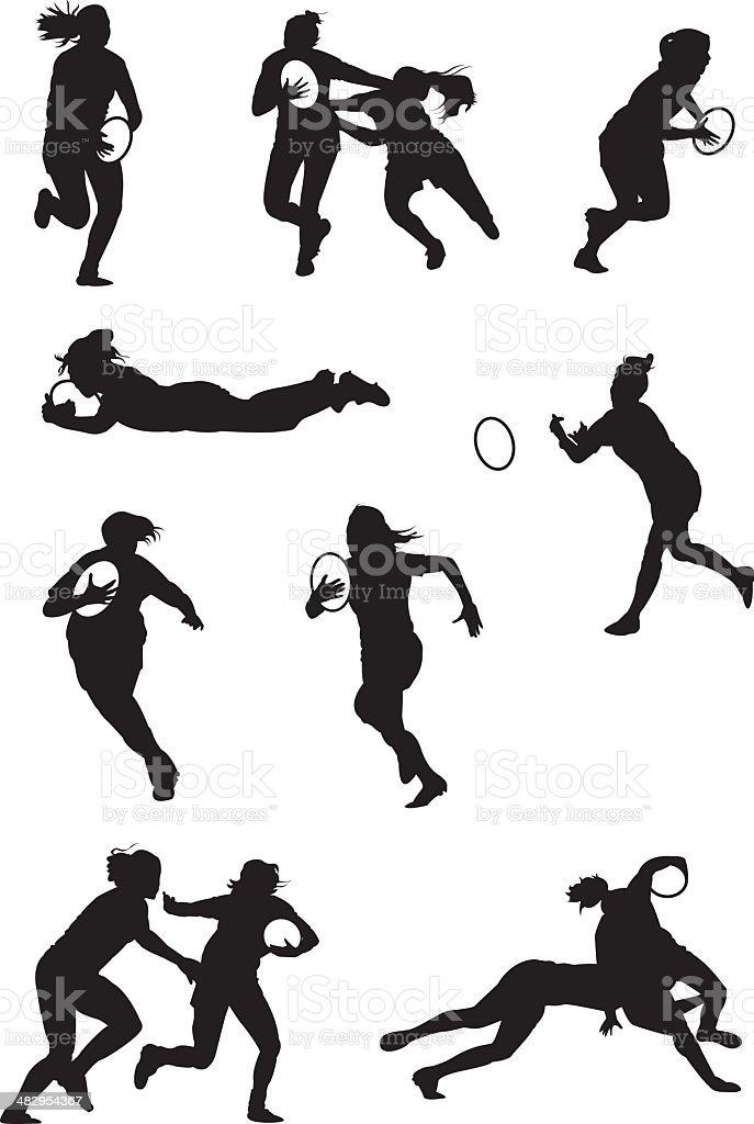 Rugby desempeñado por mujeres - ilustración de arte vectorial