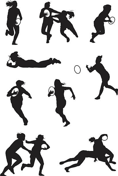 Rugby played by ladies Silhouettes of ladies playing rugby rugby stock illustrations