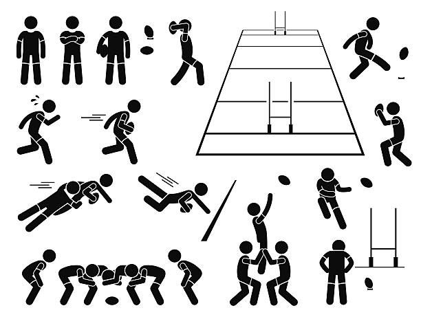 Rugby Player Actions Poses Stick Figure Pictogram Icons A set of human pictogram representing the sport of rugby player action and poses. This also include the rugby field from 3d perspective. rugby stock illustrations