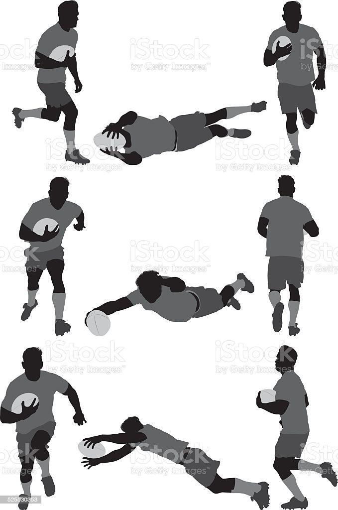 ラグビー選手の様々な処置 ベクターアートイラスト