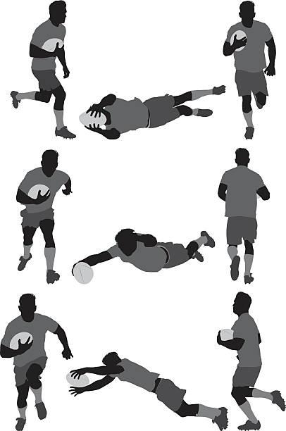 rugby-spieler in verschiedenen aktionen - rugby stock-grafiken, -clipart, -cartoons und -symbole