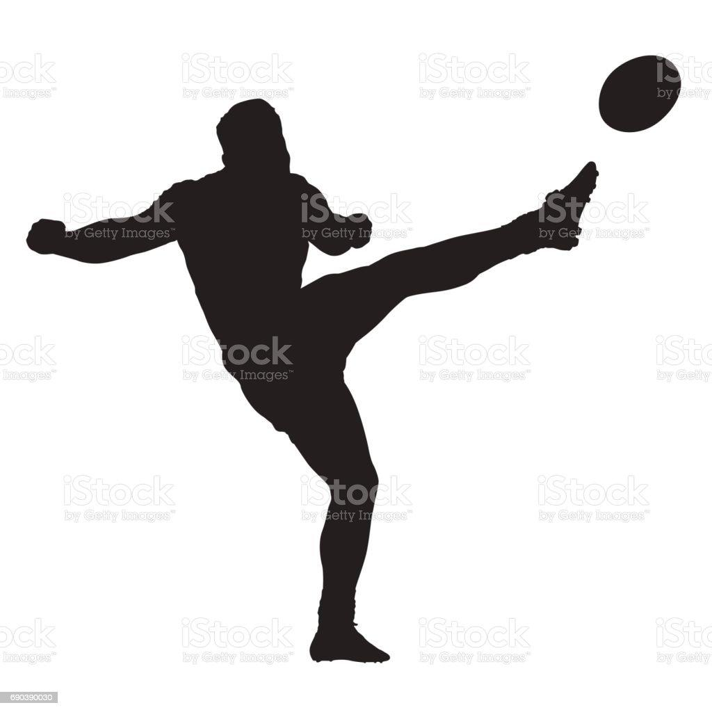 ラグビー選手のボール、分離ベクトル シルエットを蹴る ベクターアートイラスト