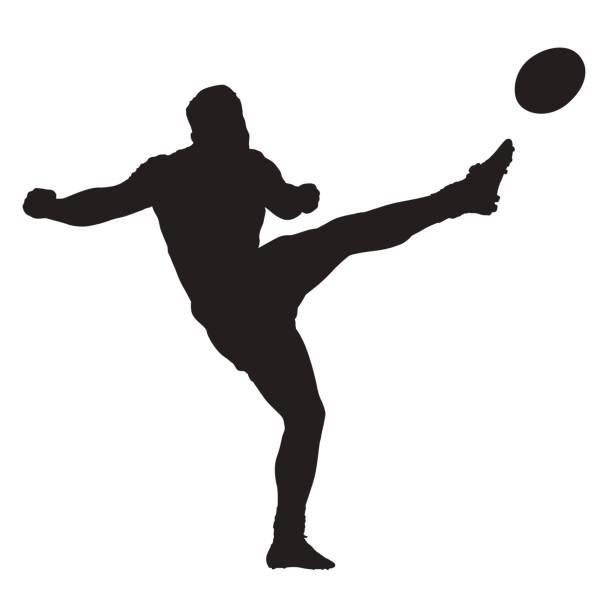 rugby-spieler treten ball, isolierte vektor silhouette - rugby stock-grafiken, -clipart, -cartoons und -symbole