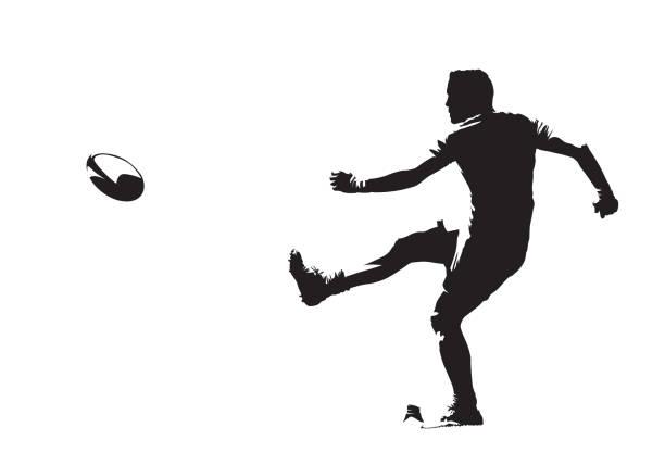 illustrations, cliparts, dessins animés et icônes de joueur de rugby frappant la bille, vue latérale, silhouette vectorielle isolée - rugby