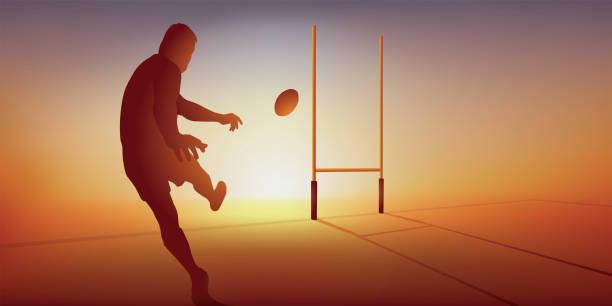 illustrations, cliparts, dessins animés et icônes de un joueur de rugby réussit la transformation d'un essais en frappant le ballon du pied. - rugby