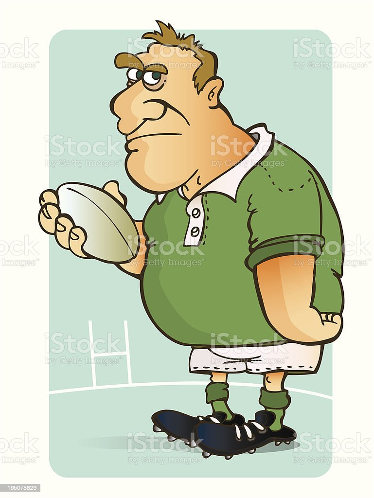 Cartoon illustration of a rugby player wearing a green shirt on a...