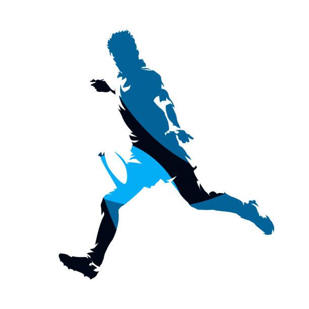 rugby-spieler mit ball, abstrakte blauen geometrischen vektor silhouette ausgeführt - rugby stock-grafiken, -clipart, -cartoons und -symbole