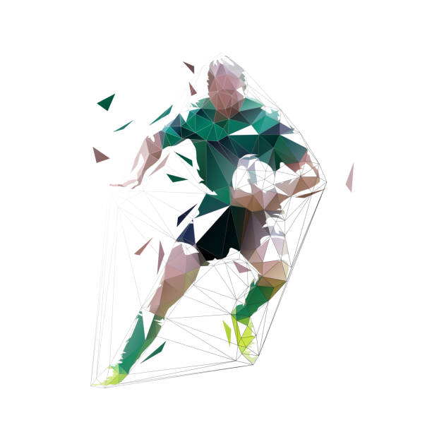 ilustrações, clipart, desenhos animados e ícones de jogador do rugby que funciona com a esfera nas mãos, vista dianteira. baixa ilustração poligonal isolada do vetor - só um homem jovem