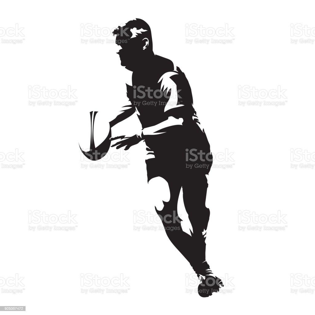 抽象的なベクトル シルエット、彼の手にボールを持つ実行中のラグビー選手 ベクターアートイラスト