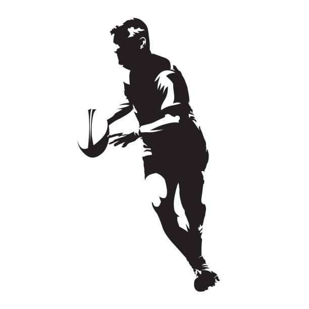 rugby-spieler mit ball in seinen händen, abstrakte vektor silhouette ausgeführt - rugby stock-grafiken, -clipart, -cartoons und -symbole