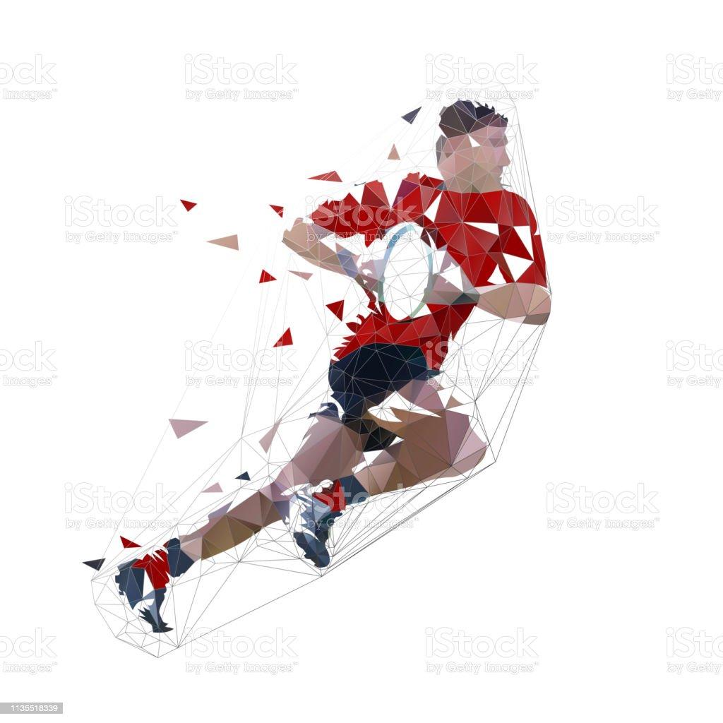 Joueur de rugby fonctionnant avec la bille, l'illustration isolée de vecteur polygonale faible - clipart vectoriel de Abstrait libre de droits