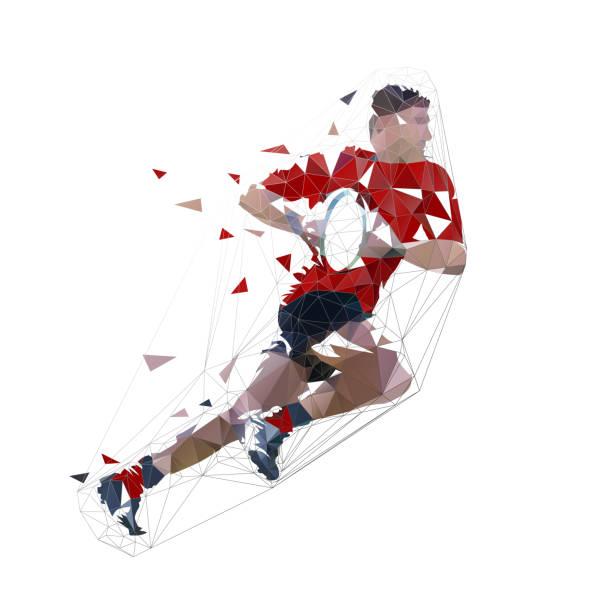 illustrations, cliparts, dessins animés et icônes de joueur de rugby fonctionnant avec la bille, l'illustration isolée de vecteur polygonale faible - rugby